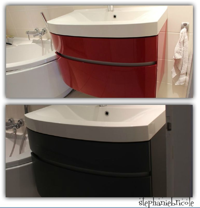 un meuble de salle de bain laqué - comment peindre un meuble laque
