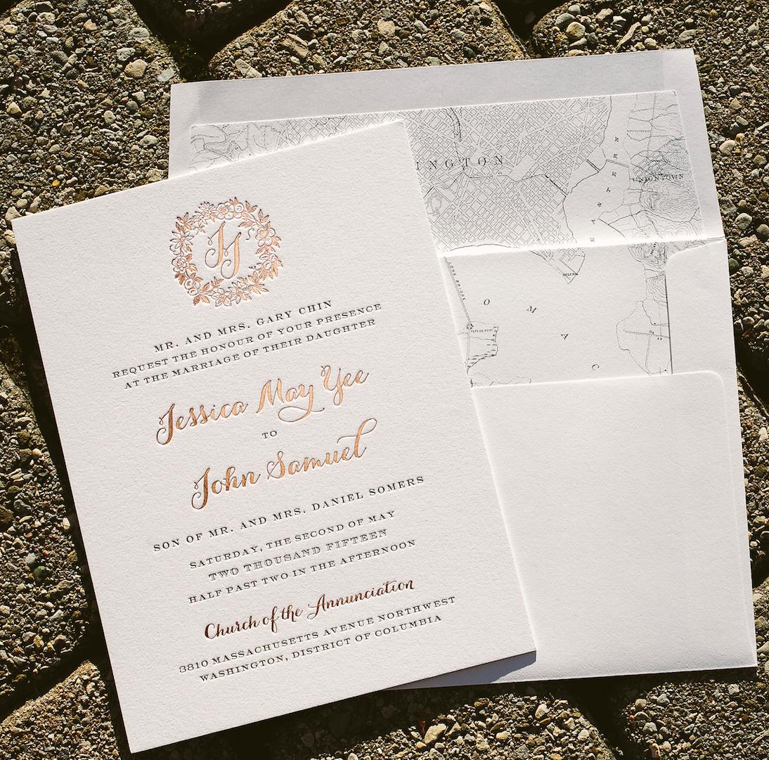 Jessica and John created these custom rose gold wedding invitations ...