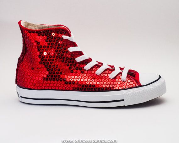 8482083072c Hand Sequined Red Sequin Canvas All Star Hi Top Sneakers Shoes on Etsy