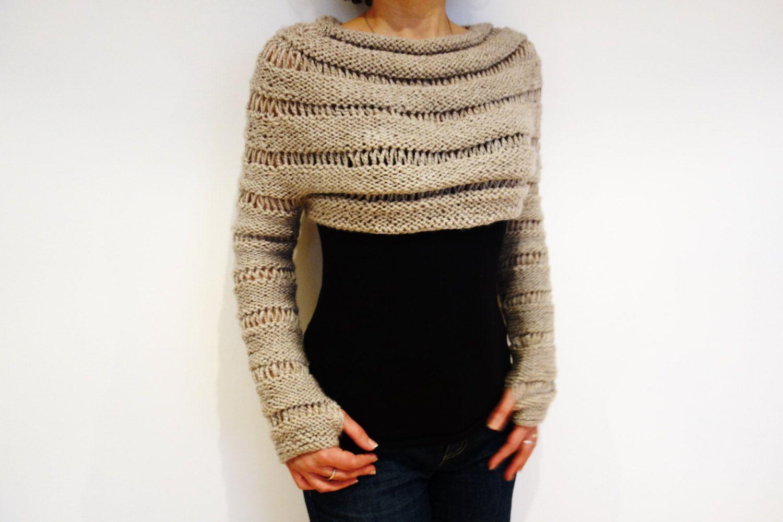 Knitting Pattern - Oatmeal Cropped Thumb Hole Sweater/ Chunky Knit ...