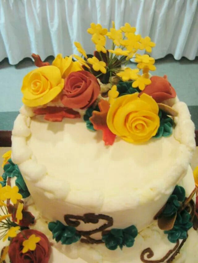 Top view of wedding cake
