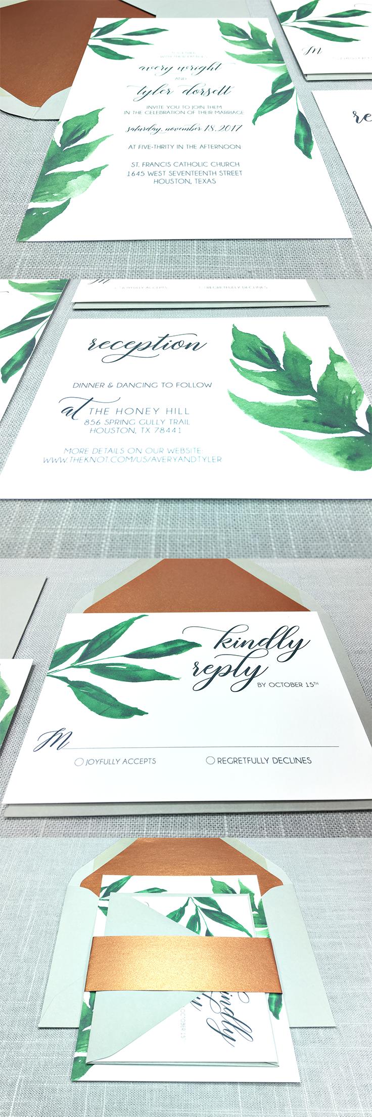 Botanic Wedding Invitation Set Greenery And Grey Wedding