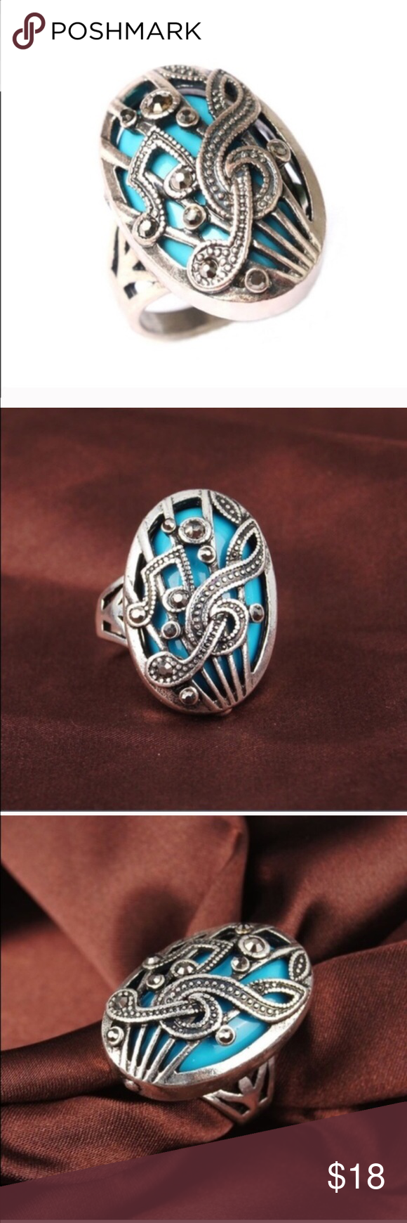 BACK IN STOCK Silver/Turquoise Music Note Ring I have 2 size 7's available. This ring is so pretty and one of my best sellers. It's really as pretty as the picture.  Jewelry Rings