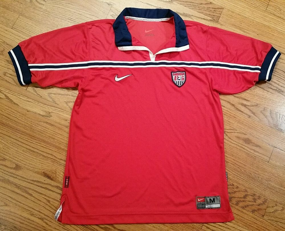 a4cd04d714e USA Soccer Nike Red Polo Shirt Jersey Men s Medium striped golf fifa world  blue  Nike  ShirtsTops