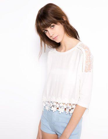 estilo de moda precios de liquidación muy genial Bershka España - Blusa BSK encaje con detalle crochet | bsk ...