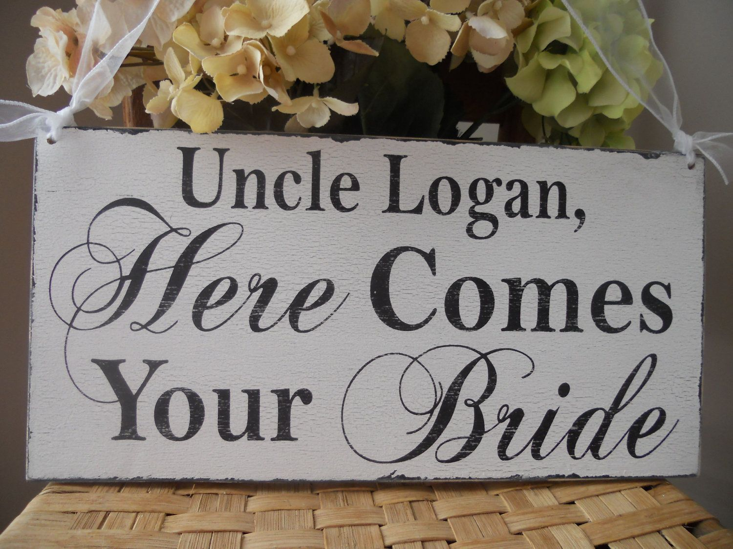 Wedding Signs Reversible Uncle Here Comes Your Bride Sign Thank You Just Married Ring Bearer Flower Photo Prop