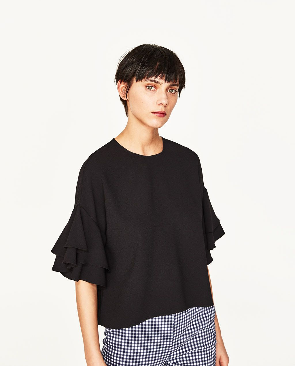 e1d7df69953540 FRILLED SLEEVE TOP-View All-TOPS-WOMAN