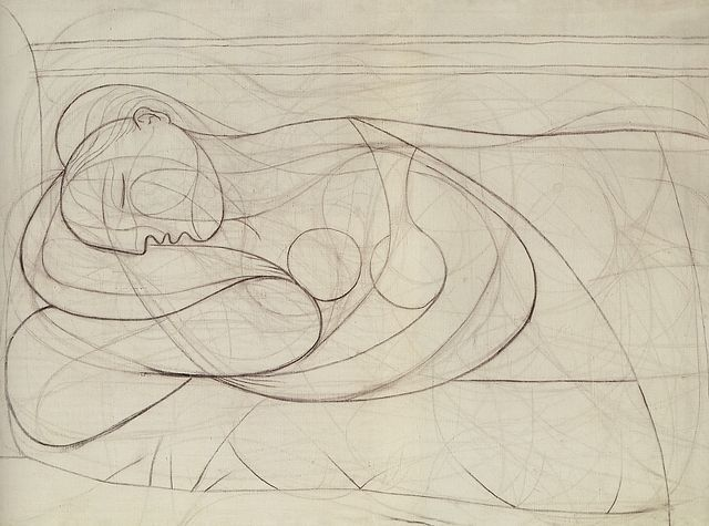 Picasso drawing, Nu couché, 1932.