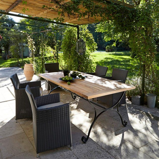 table de jardin acacia et fer forg f r ol donnez du. Black Bedroom Furniture Sets. Home Design Ideas