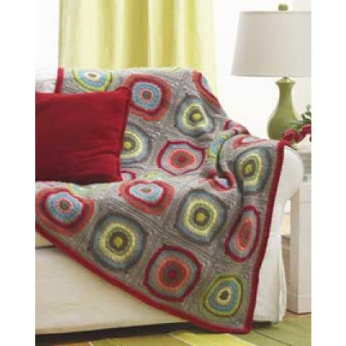 Free Circles In Squares Blanket Crochet Pattern Blankets