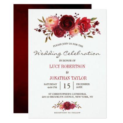 Burgundy Marsala Red Roses Floral Wedding Invitation Wedding