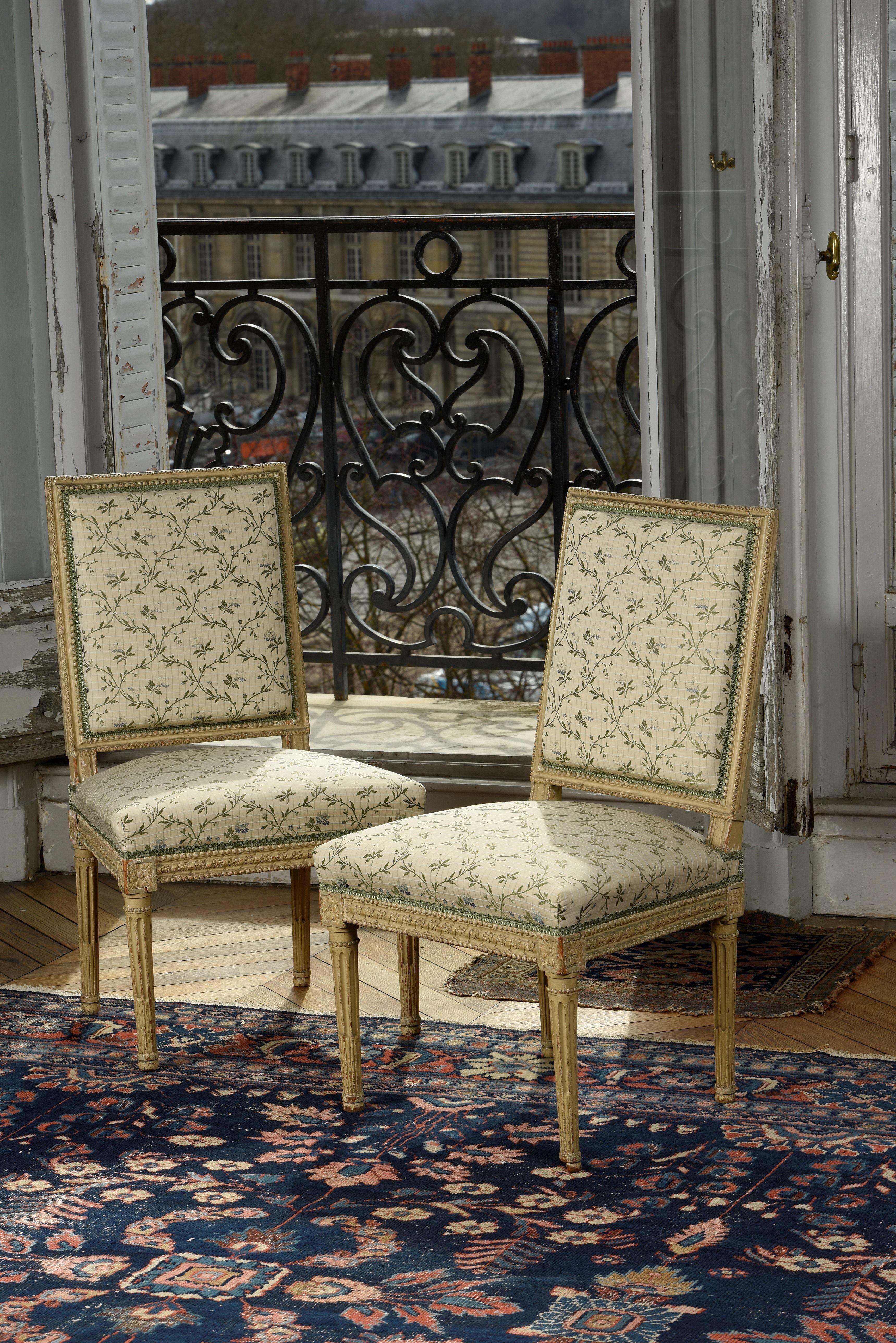 Paire de chaises estampillées J B Boulard d époque Louis XVI