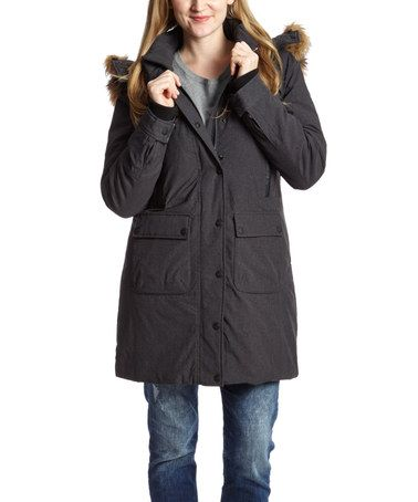 1a002317a1 Charcoal Faux Fur-Trim Hooded Arctic Jacket - Women   Plus by Point Zero   zulilyfinds