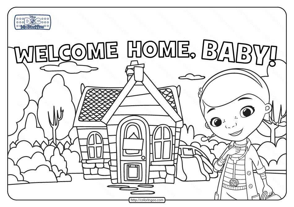 Doc Mcstuffins Welcome Home Baby Coloring Page Baby Coloring Pages Welcome Home Baby Coloring Pages