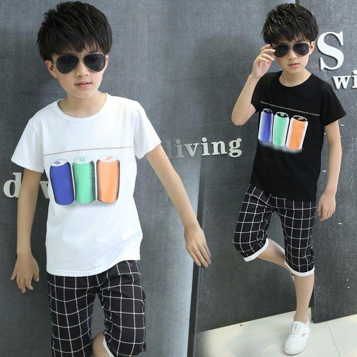 CH02903 Plaid child short sleeve two piece suit boy summer kids