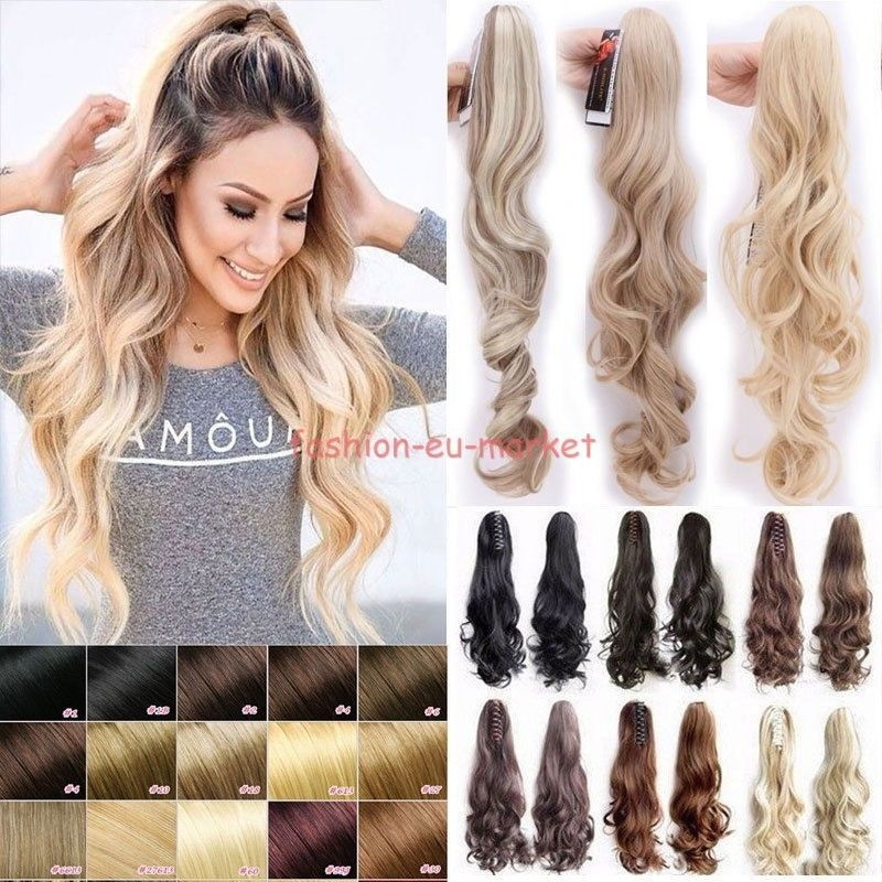Jaw Claw Ponytail Clip In Pony Tail Hair Extensions Natural Piece Brown Blonde F Clip In Ponytail Extensions Clip In Ponytail Hair Extensions For Short Hair