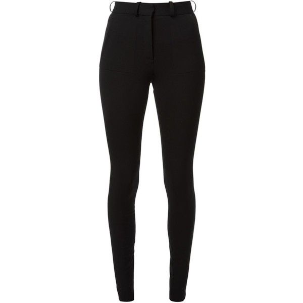 Victoria Beckham High Waisted Skinny Trousers (5.760 NOK) ❤ liked on Polyvore featuring pants, jeans, bottoms, calças, trousers, black, victoria beckham, cotton stretch pants, high-waisted pants and high waisted pants