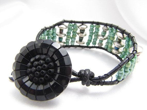 Green beaded Silver Boho-style Leather Wrap Bracelet with Black Button Closure READY TO SHIP