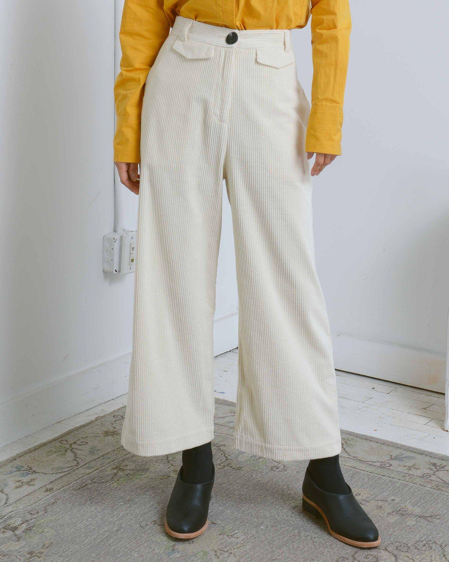49cd14645fa510 Cream Wide Leg Corduroy Pants | ANTHOM // Pants + Shorts | Corduroy ...