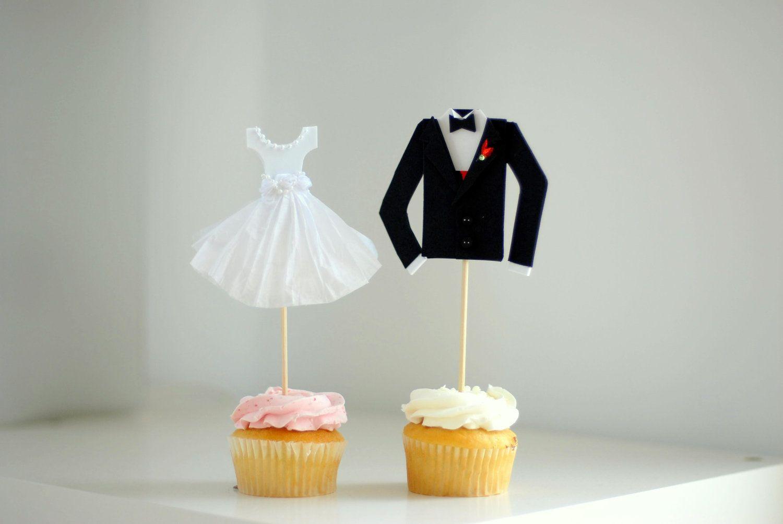 Bridal Shower Wedding Decoration Bride And Groom Cupcake Topper