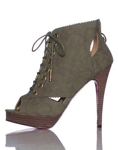 APPLE BOTTOMS Sexy 5 inch heel Contrasting Lace up front closure Zip heel closure Open toe design heel