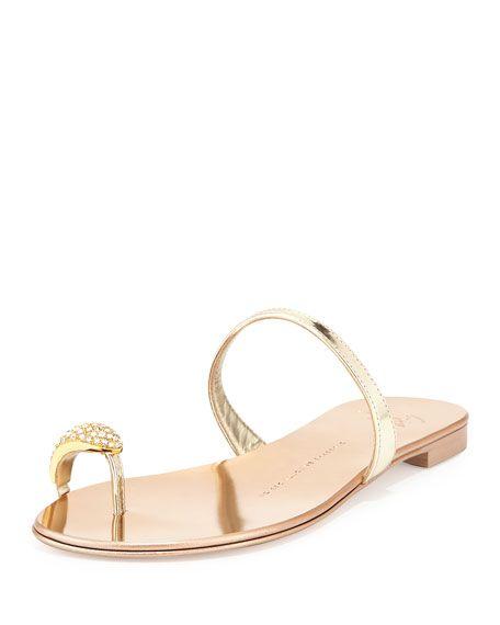 Giuseppe Zanotti Metallic Toe-Ring Flat Sandal 112eb52f8