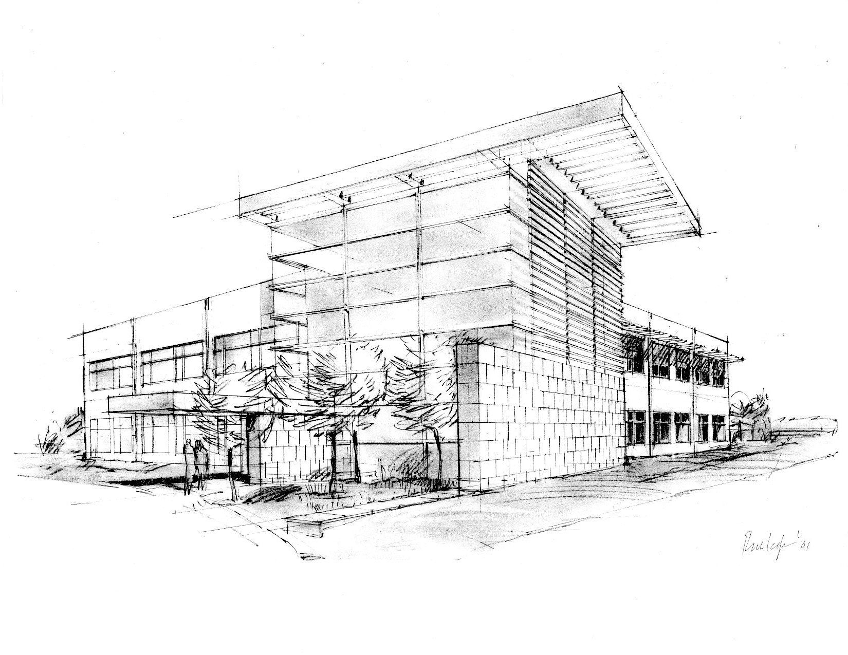 Beautiful building design sketches with pencil sketch of House cad drawings