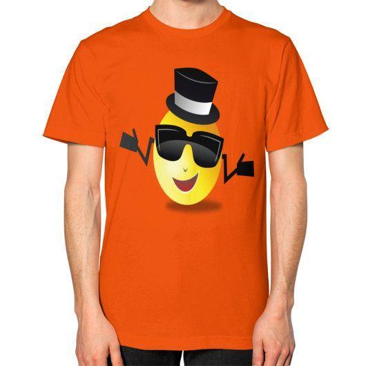 COOL DAPPER SMILEY ON AMERICAN APPAREL Unisex T-Shirt (on man)