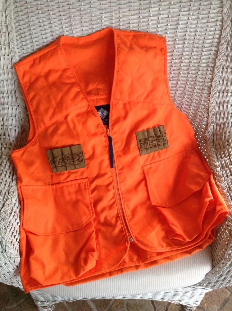 Columbia Blaze Orange Hunting Vest With Shell Case Holding