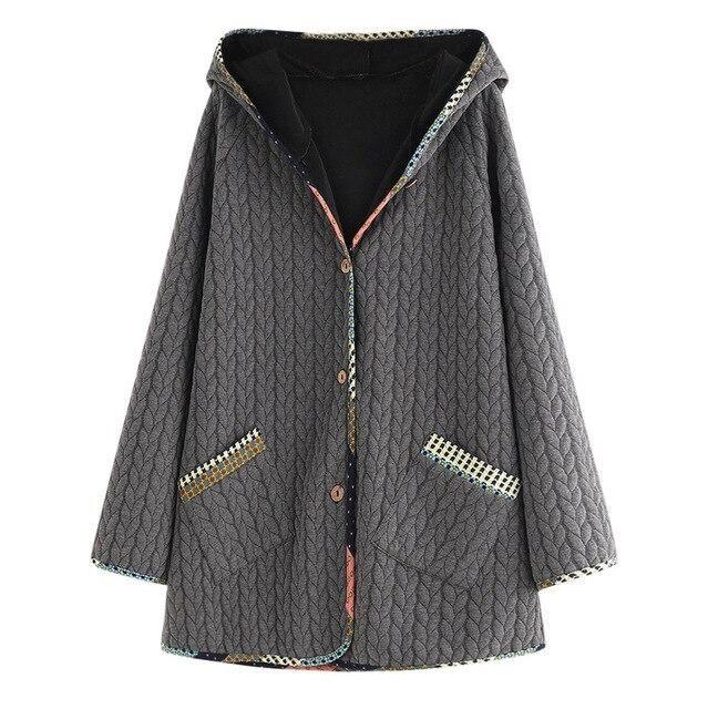 Winter Coat Women Plus Size Winter Warm Lady Vintage Hooded Long Sleeve Button Coat Outwear Solid Warm Coat of Women #YL10 2