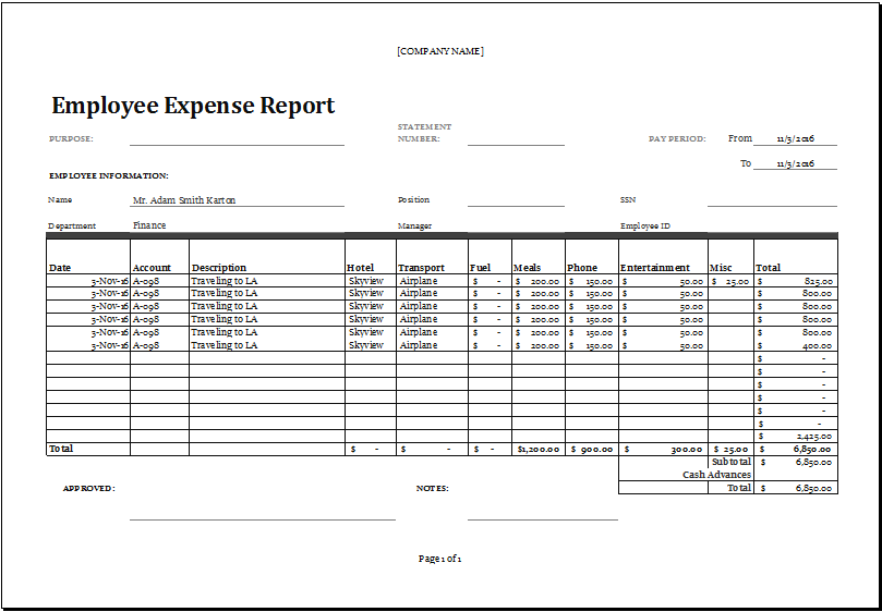 Excel Employee Expense Report Templates Excel Templates Report Template Excel Templates Templates