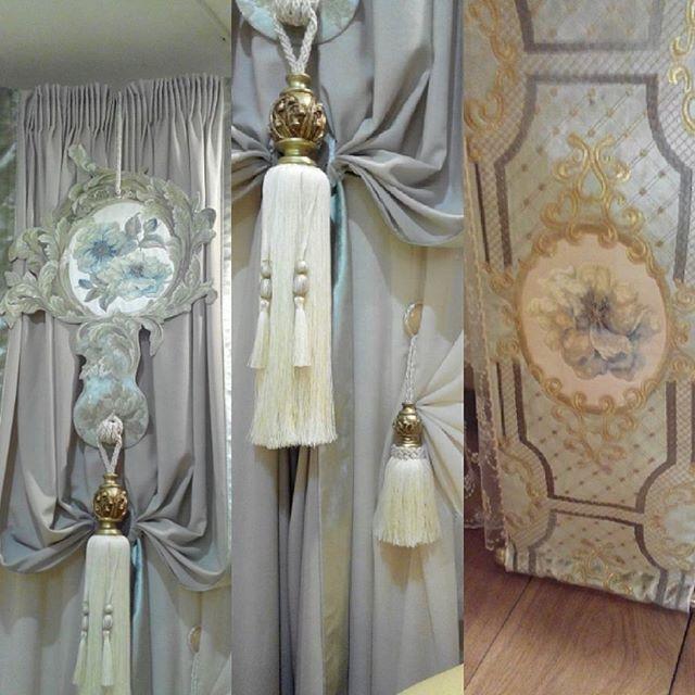 Кисть, бархат с вышивкой и креп#шторы на заказ#дизайн штор#шторыворенбурге