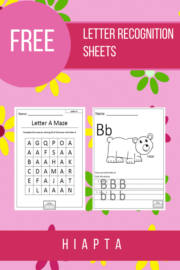 Just click and print free letter recognition sheets!   Letter ...