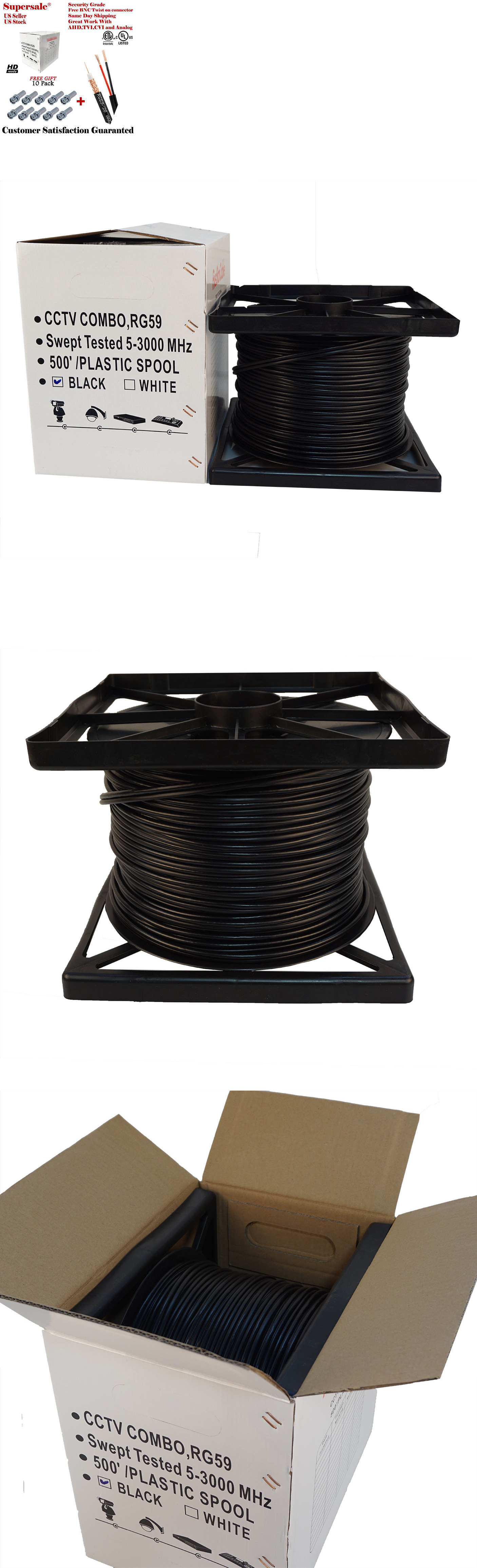 Cables Adapters and Connectors: Rg59 Black 500Ft Bulk Siamese Cable ...