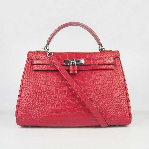 fc280af69e32 Wholesale Réplique Hermes Kelly Sac Big Crocodile Rouge Argent -   réplique  sac a main, sac a main pas cher, sac de marque