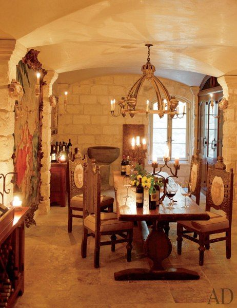 Wine room-designer Kara Childress, finishes by Segreto #finishes #design #rustic
