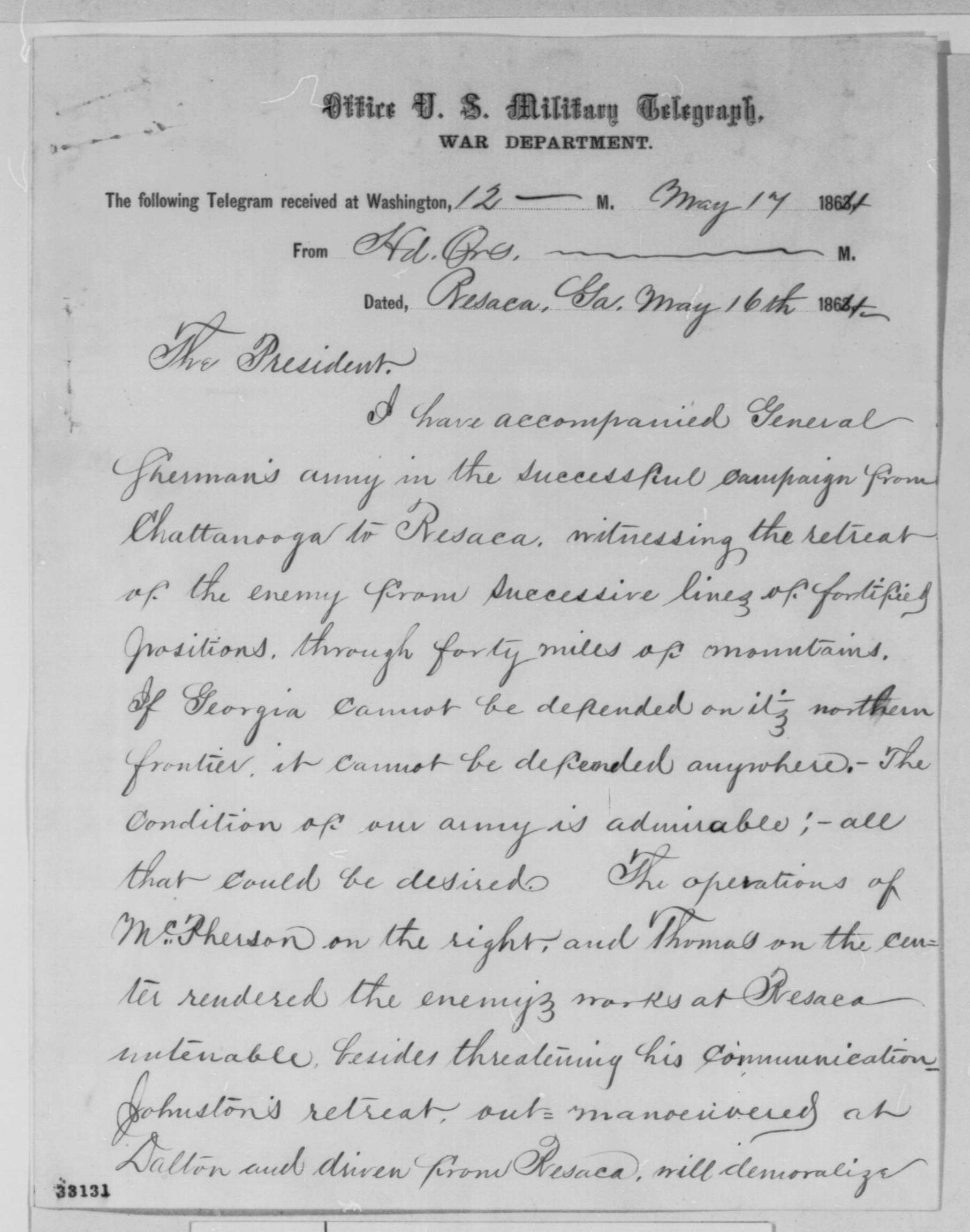 Letter to Lincoln from Resaca page 1: Daniel E. Sickles to