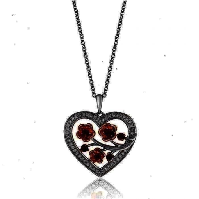 Herz Anhänger Halskette  Enchanted Disney Fine Jewelry Mulans Kirschblüten Granat und Diamant Herz Anhänger Halskette 1  5ctw Enchanted Disney Fine Jewelry...