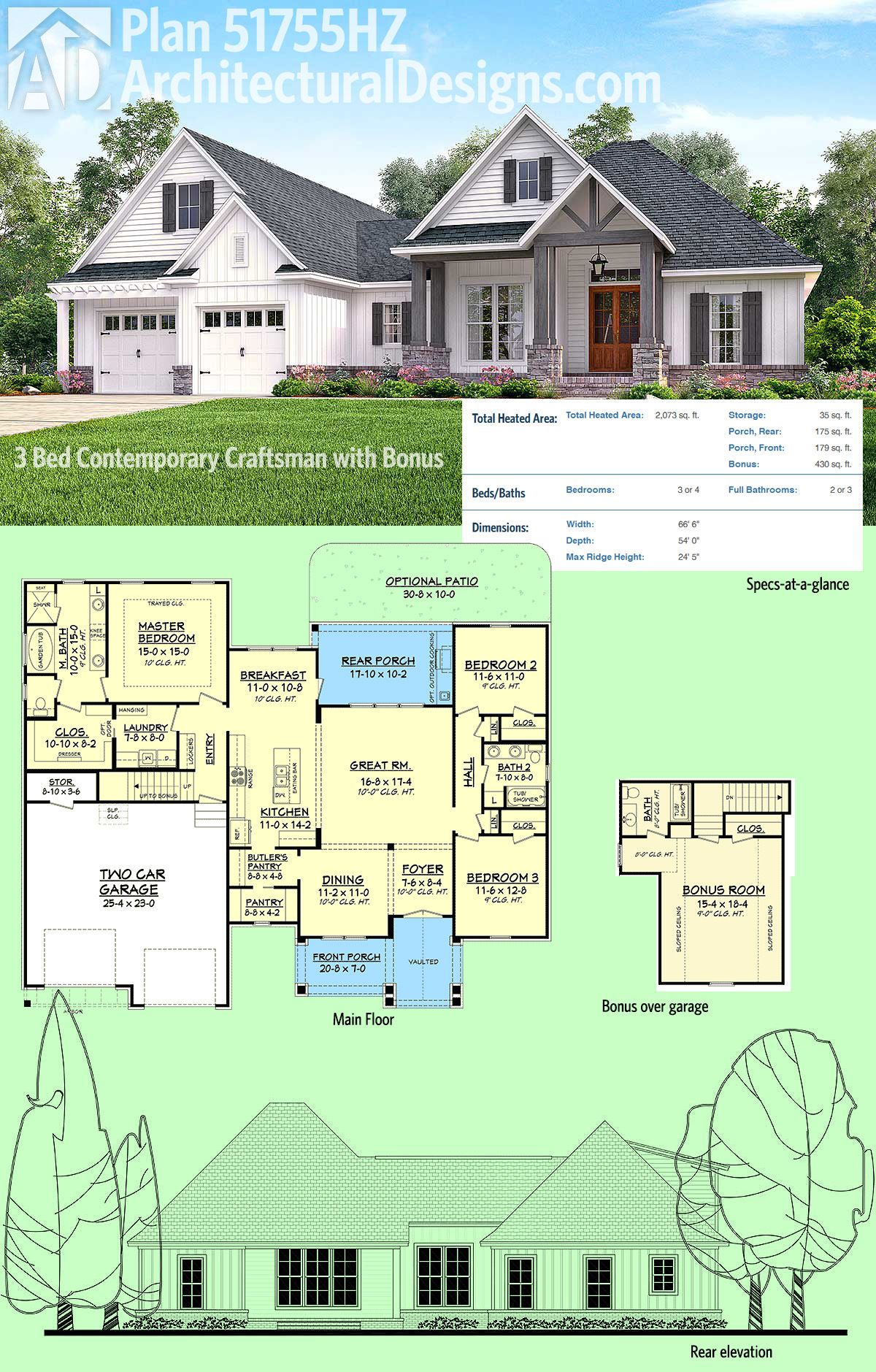 Plan 51755HZ 3 Bed Contemporary Craftsman with Bonus Over Garage