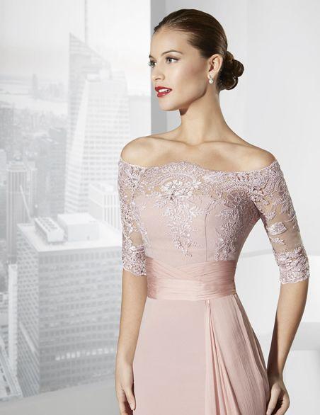 Vestidos de fiesta largo confeccionado en crep y rebordé rosa ... ca80081a3372