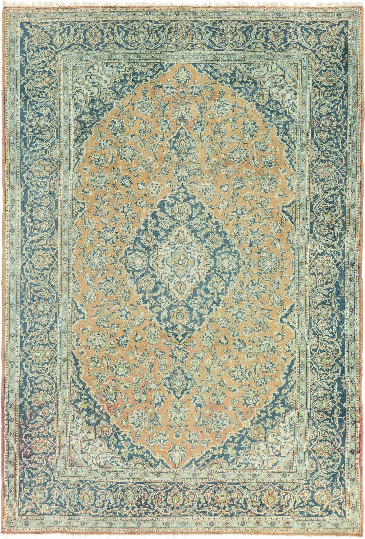 Peach 8 7 X 12 3 Kashan Persian Rug Esalerugs Rugs Persian Rug Persian