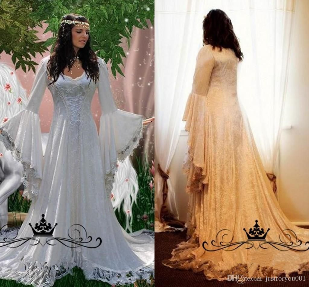 Vintage Lace Gothic Overskirts Wedding Dresses 2018 Plus Size A