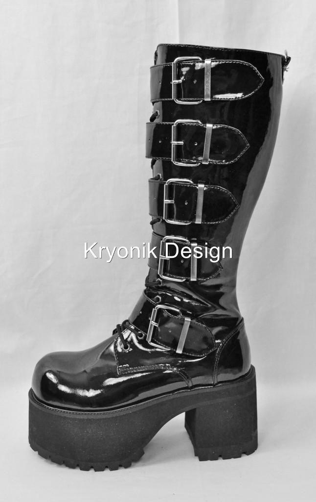 8fc4f206c067 Demonia Ranger 318 Goth Punk Black Patent Platform Buckled Boots Women s 6  15