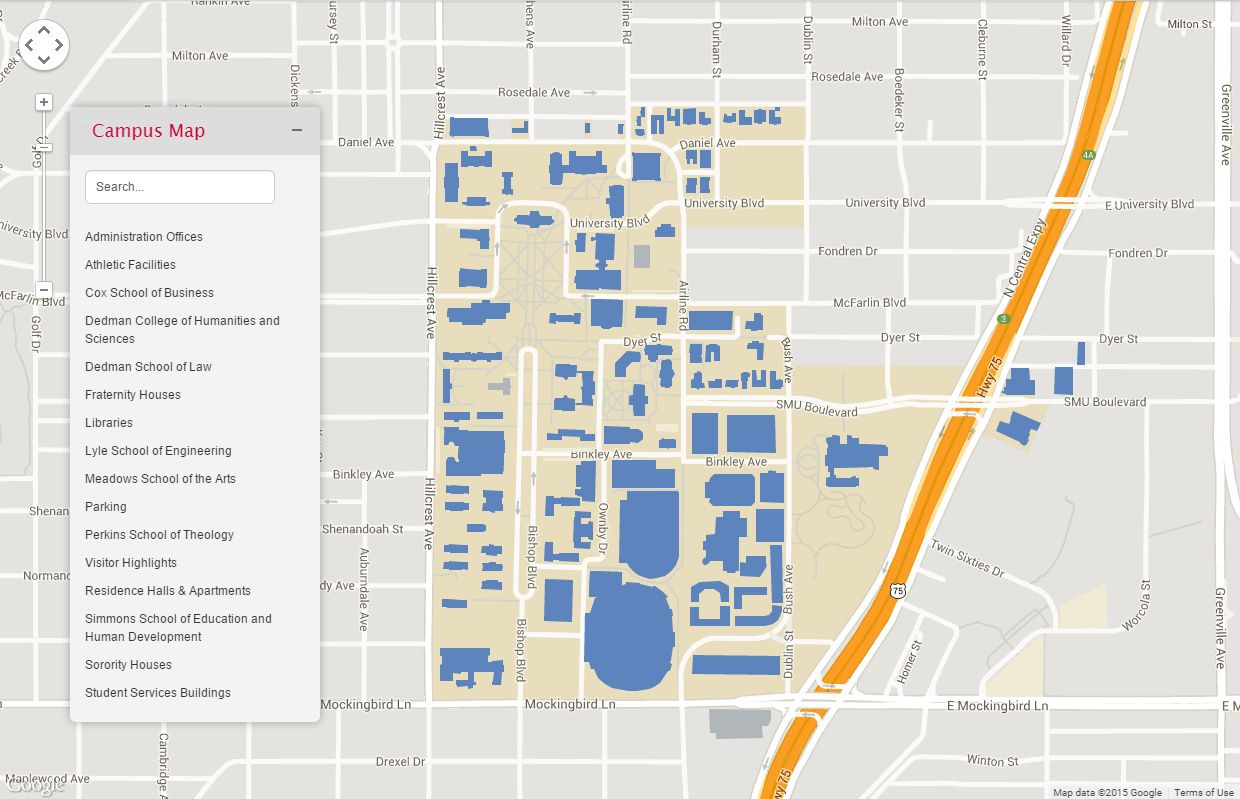 SMU campus map | Dallas–Fort Worth Metroplex | Campus map, Map, Dallas