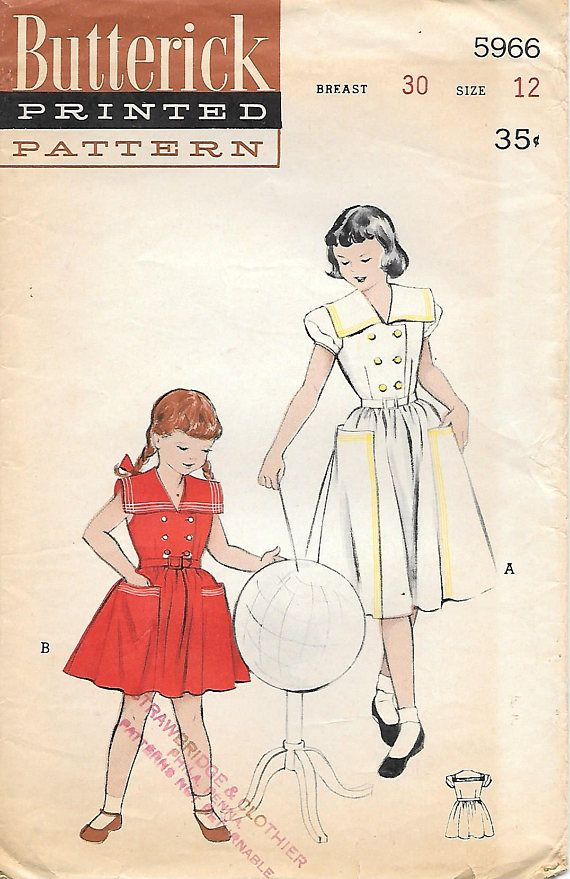 Butterick 5966 1950s Girls Double Breasted Dress with Sailor Collar ...