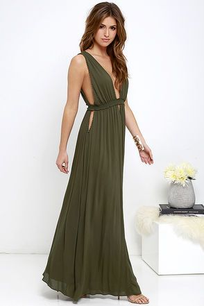 Greek Goddess Olive Green Maxi Dress Maxi Dress Green Olive Maxi Dress Olive Green Bridesmaid Dresses