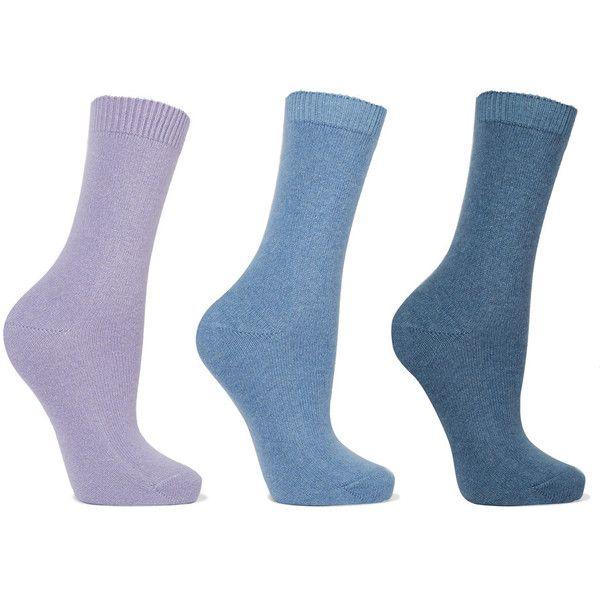 Falke Set of three knitted socks (780 NOK) ❤ liked on Polyvore featuring intimates, hosiery, socks, lilac, falke hosiery, falke and falke socks