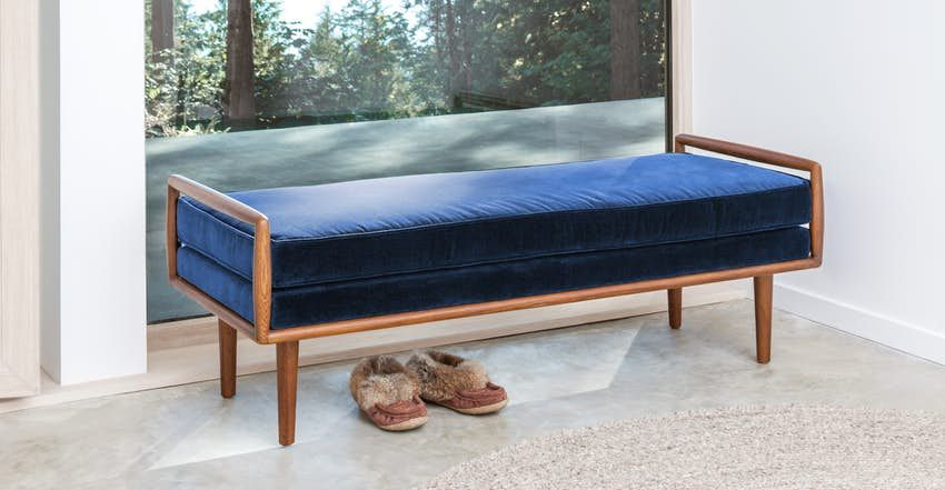 Ansa Charme Tan Bench In 2020 Blue Bench Living Room Bench Seating Bedroom Bench Seat