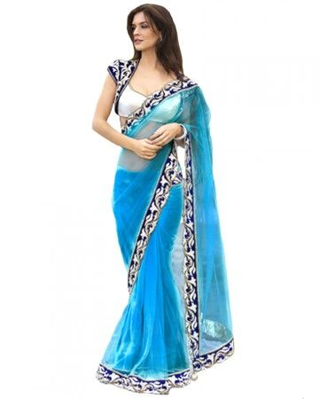 Turquoise Blue Net Saree With Heavy Embellished Border