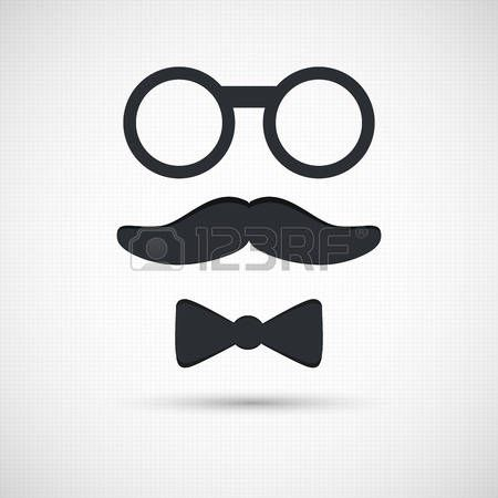 Man Face Silhouette Mustache Eyeglasses And Bow Tie Retro